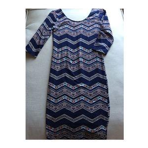 Tribal 3/4 sleeve body con dress